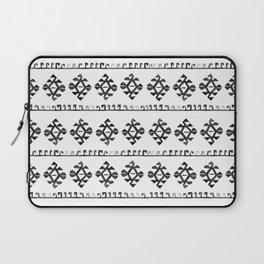 Black and White Bohemian Tribal Ethnic Kilim Pattern Laptop Sleeve