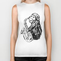 saxophone Biker Tanks featuring Musician monkey saxophone by Jemma Banks