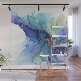 Electric Waves Violet Turquoise - Part 3 Wall Mural