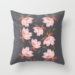 Falling Lotus - Grey Sky Throw Pillow