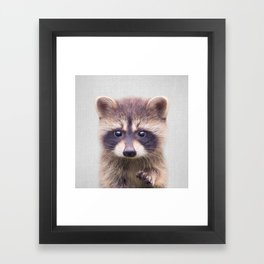 Raccoon - Colorful Framed Art Print