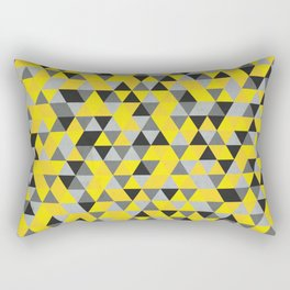 Sunny Yellow and Grey / Gray - Hipster Geometric Triangle Pattern Rectangular Pillow