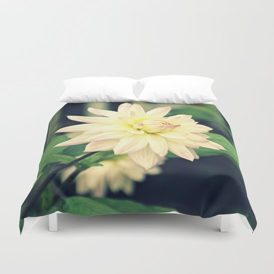 White dahlia retro Duvet Cover