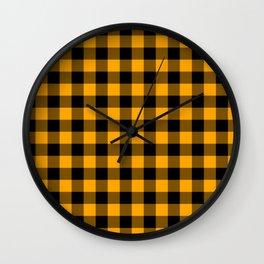 Crisp Orange and Black Lumberjack Buffalo Plaid Fabric Wall Clock