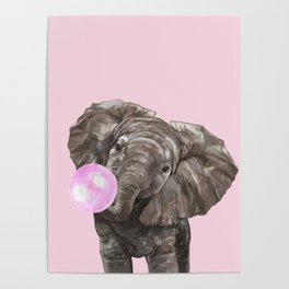 Baby Elephant Blowing Bubble Gum Poster