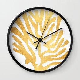 Golden coral I Wall Clock