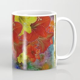 GRUNGY ANTIQUE RED FLORAL STILL LIFE Coffee Mug