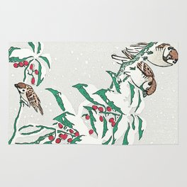 Christmas card Detail Sparrows in snow Rug