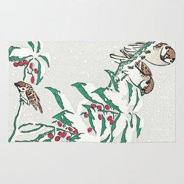 Christmas card . Detail snow sparrows 3 Rug