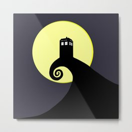 Tardis Black Nightmare Metal Print