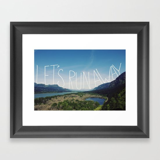 Let's Run Away: Columbia Gorge, Oregon Framed Art Print