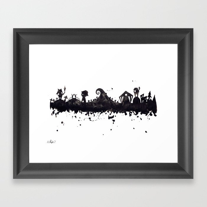 Tim Burton Nightmare Before Christmas Artwork.Halloween Town Nightmare Before Christmas Disney Tim Burton Inspired Watercolor Skyline Framed Art Print