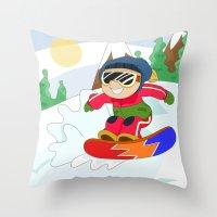 snowboarding Throw Pillows featuring Winter Sports: Snowboarding by Alapapaju