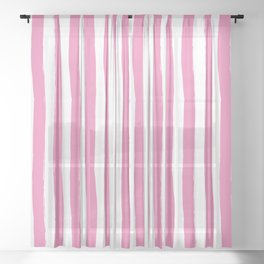Pink and White Cabana Stripes Palm Beach Preppy Sheer Curtain