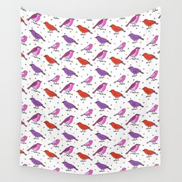Fesive birds pattern with pink and purle Wall Tapestry