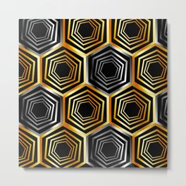 Gold and silver hexagonal composition Metal Print