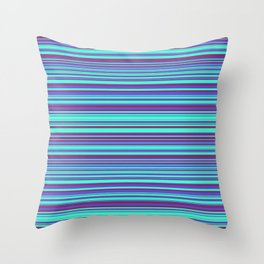 Blue Purple Candy Lines Throw Pillow