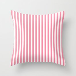 Candy Pink and White Stripes Throw Pillow