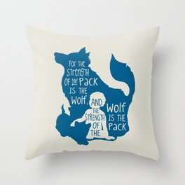 Strength of the Pack - Wolf and Child Throw Pillow