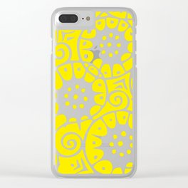 Lemon Swirl Pattern | Swirl Pattern | Abstract Patterns | Yellow and White | Clear iPhone Case