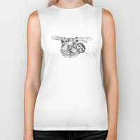 clockwork Biker Tanks featuring clockwork sloth by vasodelirium