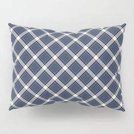 Navy Blue, White, and Black Diagonal Plaid Pattern Pillow Sham