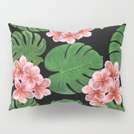 Tropical Floral Print Black Pillow Sham
