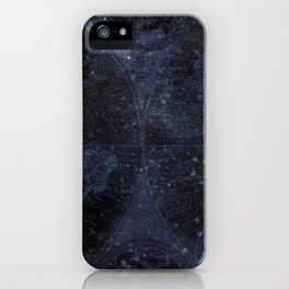 Antique World Star Map Navy Blue iPhone Case