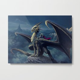 He and His Dragon Metal Print