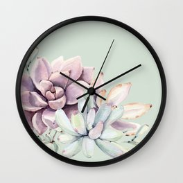 Beautiful Mint Succulents Wall Clock