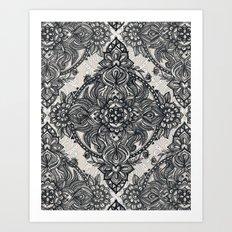 Charcoal Lace Pencil Doodle Art Print