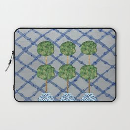 Blue Lattice Ginger Jars Topiary  Laptop Sleeve