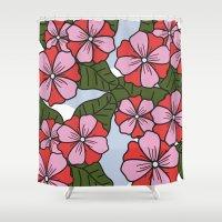 scandinavian Shower Curtains featuring Scandinavian Garden by She's That Wallflower