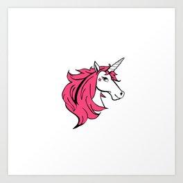 Colorful Cartoon Unicorn - Pink Art Print