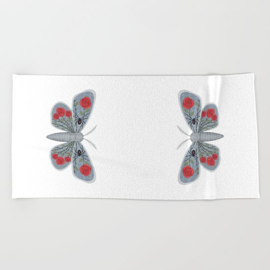 spider web and rose (made up moth) Beach Towel