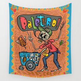 Day of the Dead PALETERO Sings with Angel Popsicles Wall Tapestry