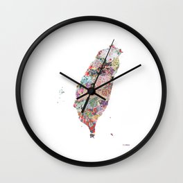 Taiwan map portrait Wall Clock