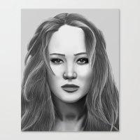 jennifer lawrence Canvas Prints featuring Jennifer Lawrence by OliverThor