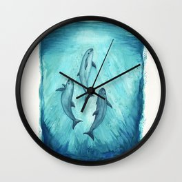 """Song of the Vaquita"" by Amber Marine ~ Watercolor Painting, (Copyright 2015) Wall Clock"