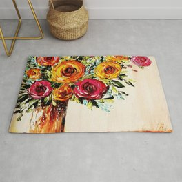 country colorful flowers bouquet Rug