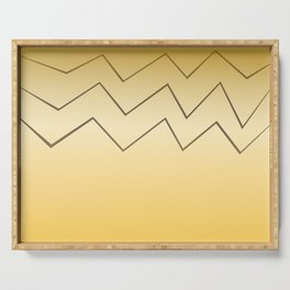 design lines ethnic on gold Serving Tray