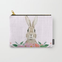 rabbit and pink camellia flower Carry-All Pouch