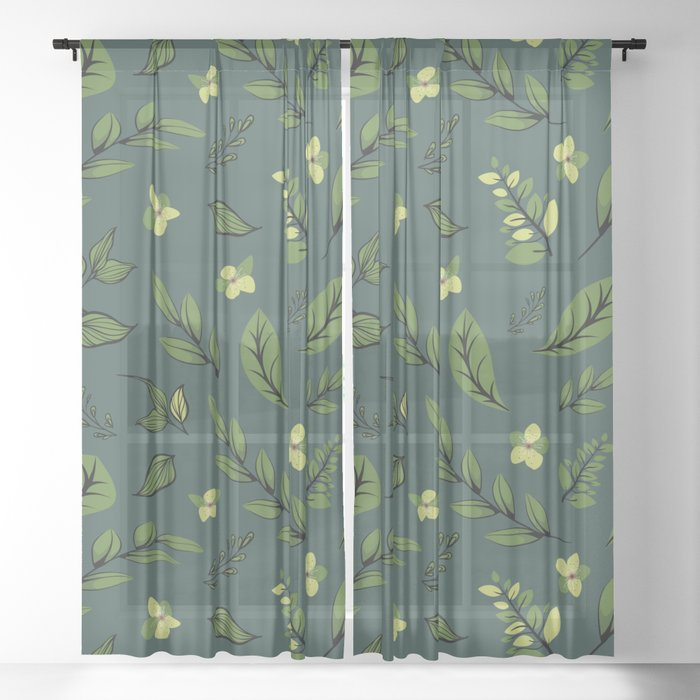 Flower Design Series 8 Sheer Curtain