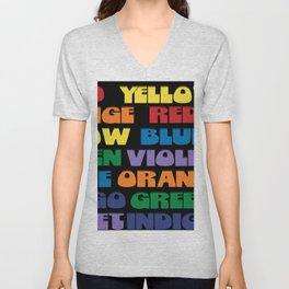 Retro Rainbow Color Chart Repeat in Black Unisex V-Neck