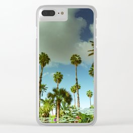 Yves Palm Tress reflection on pond with Lily Pads Clear iPhone Case