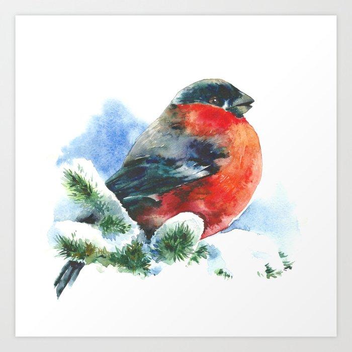Christmas watercolor bullfinch Art Print