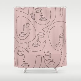 Blush Faces Shower Curtain