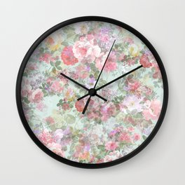Country chic vintage green blush pink elegant floral Wall Clock