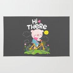 Pig on a bike Rug