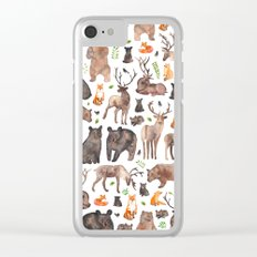 Woodland Animals Clear iPhone Case